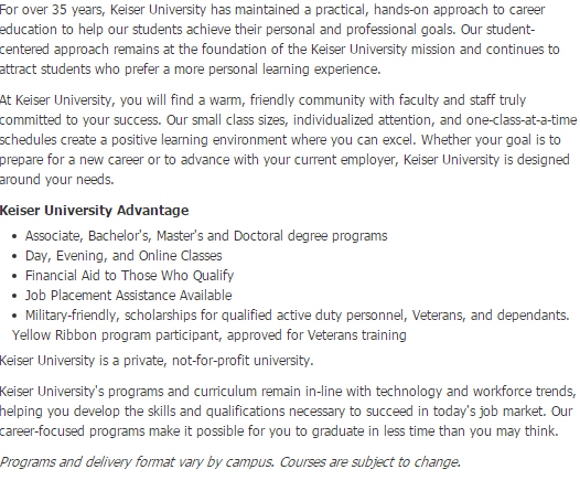 Keiser University Graduate School Programs